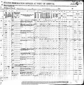 Belge 1-B: Yolcu listesi belgesinin sağ tarafı; 1916 ibaresi için 25'inci sıraya bakınız.